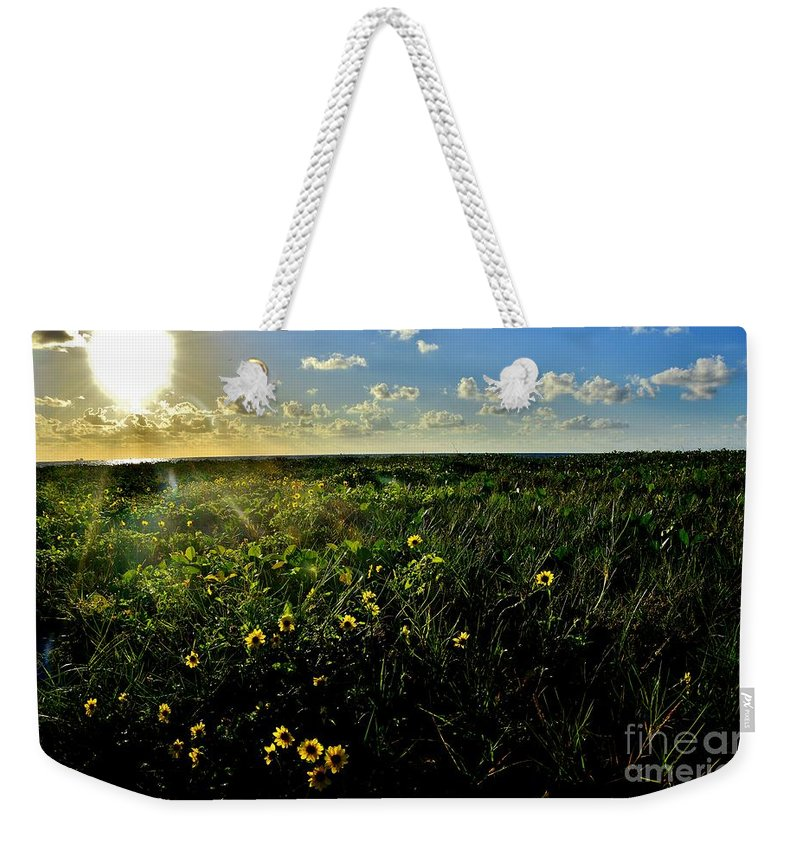 Beach Daisy Weekender Tote Bag featuring the photograph Summer Beach Daisy 2 by Lisa Renee Ludlum