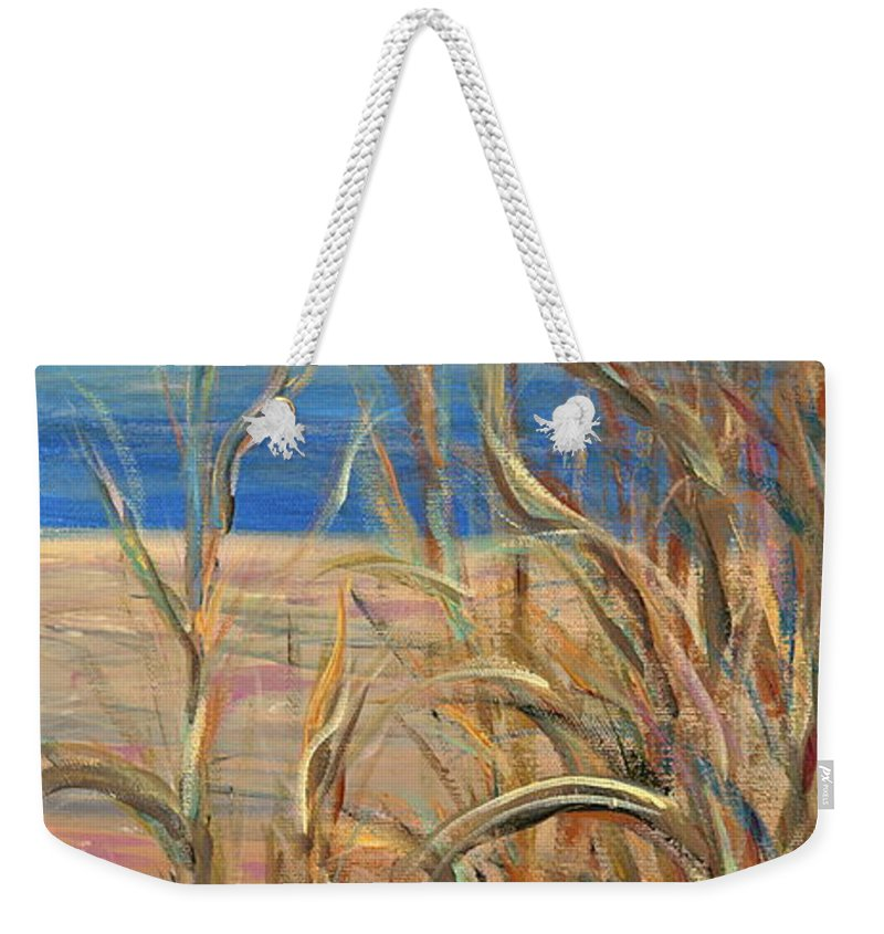 Grasses Weekender Tote Bag featuring the painting Summer Beach Grasses by Nadine Rippelmeyer