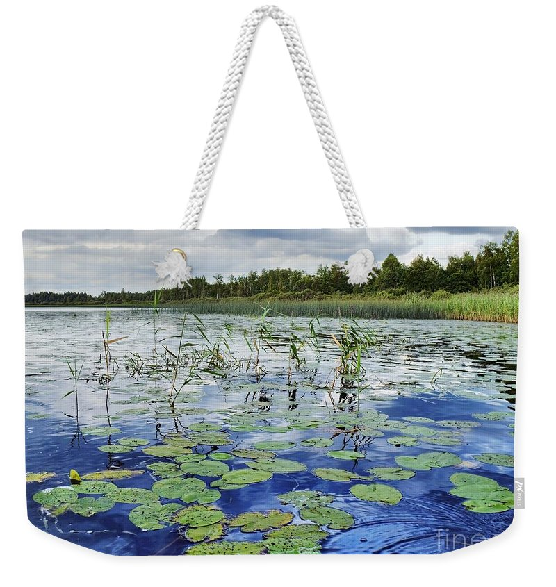 Afar Weekender Tote Bag featuring the photograph Summer Blue Lake Under Clody Grey Sky With Forest On Coast by Vadzim Kandratsenkau