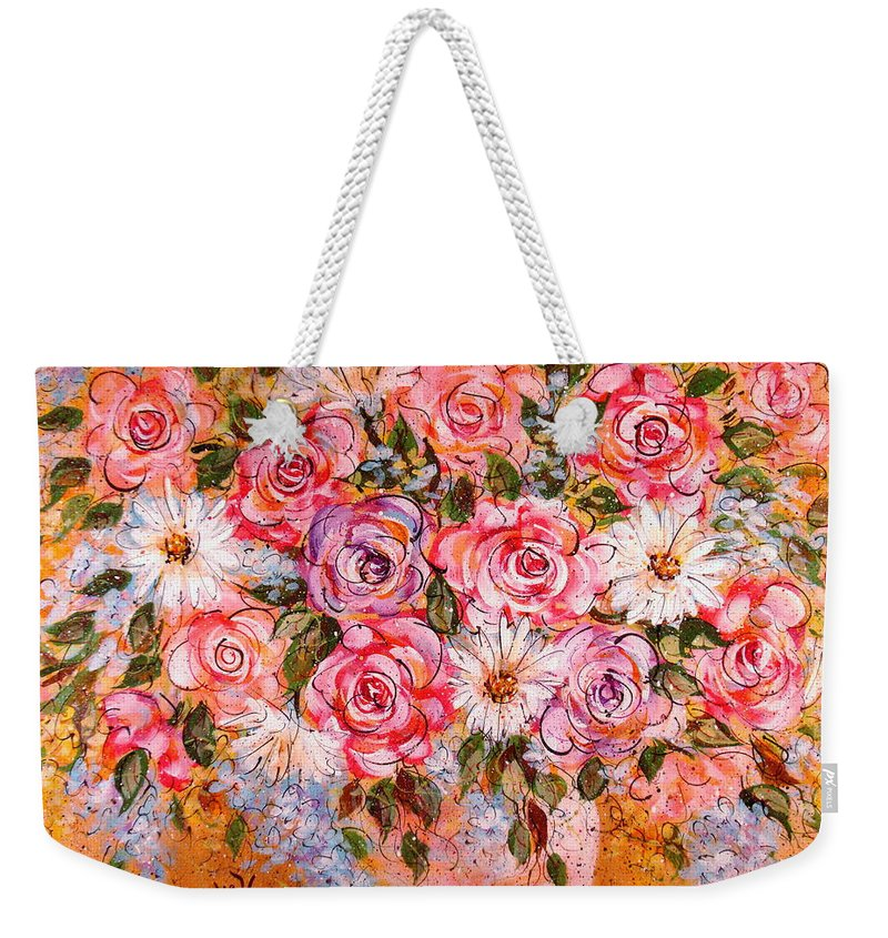 Flowers Weekender Tote Bag featuring the painting Summer Bouquet by Natalie Holland