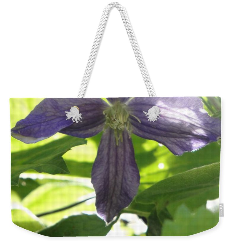 Flora Weekender Tote Bag featuring the photograph Summer Clematis In Light Shade by Susan Baker