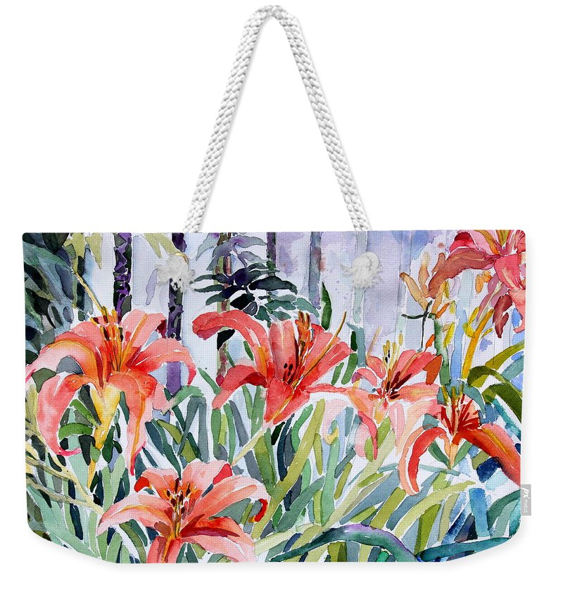 Day Lily Weekender Tote Bag featuring the painting My Summer Day Liliies by Mindy Newman