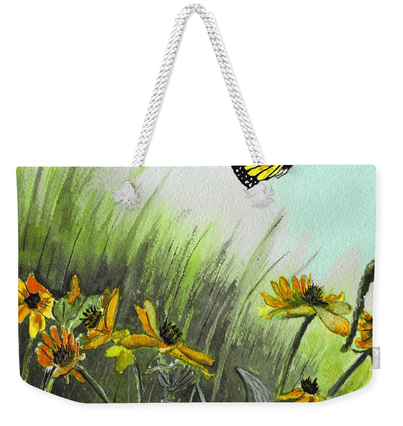 Landscape Weekender Tote Bag featuring the painting Summer Flight by Brenda Owen