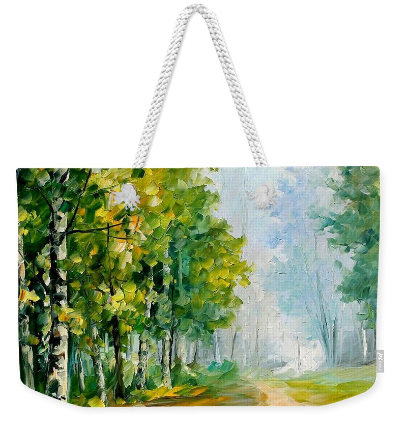Afremov Weekender Tote Bag featuring the painting Summer Forest by Leonid Afremov