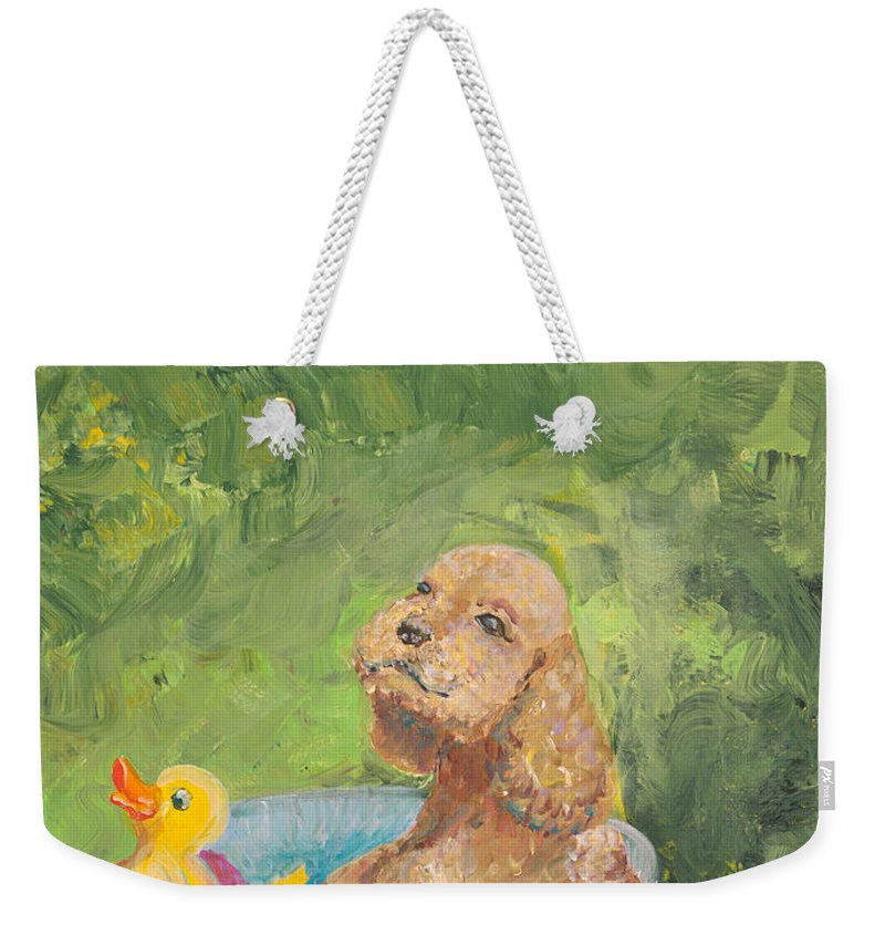 Dog Weekender Tote Bag featuring the painting Summer Fun by Nadine Rippelmeyer