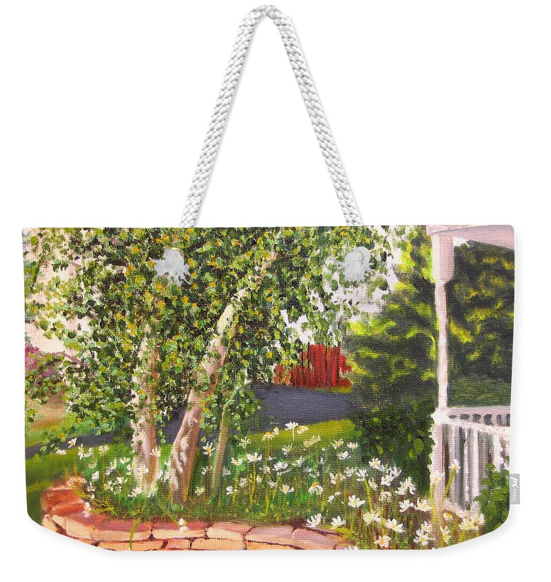 Daisies Weekender Tote Bag featuring the painting Summer Garden by Lea Novak