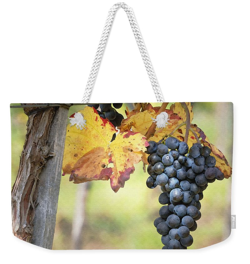 Grapes Weekender Tote Bag featuring the digital art Summer Grapes by Sharon Foster