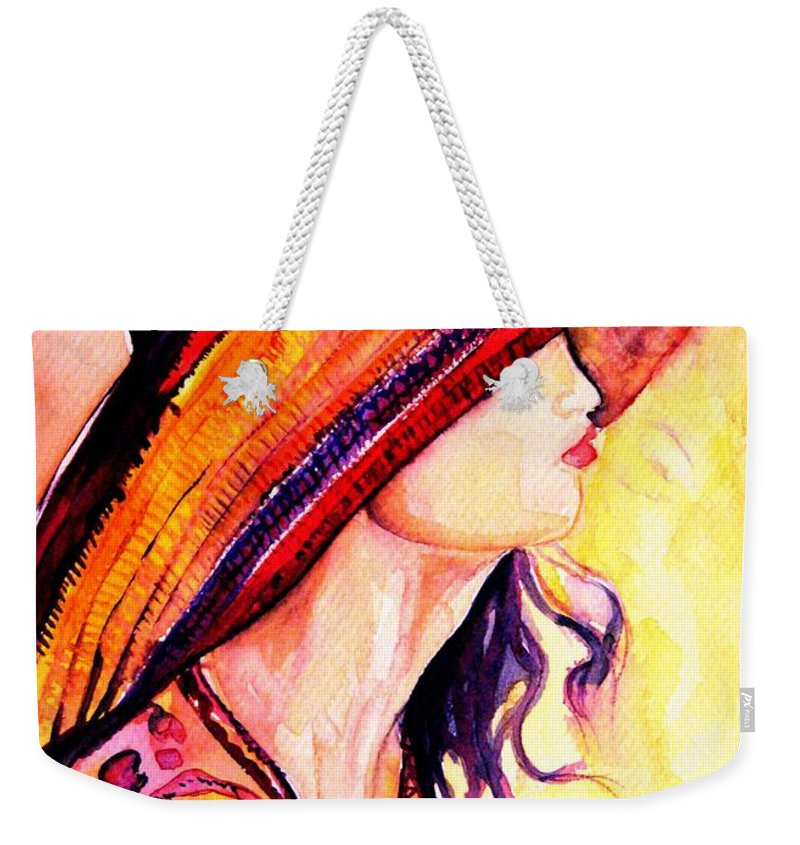 Elegant Lady Weekender Tote Bag featuring the painting Summer Hat by Carole Spandau