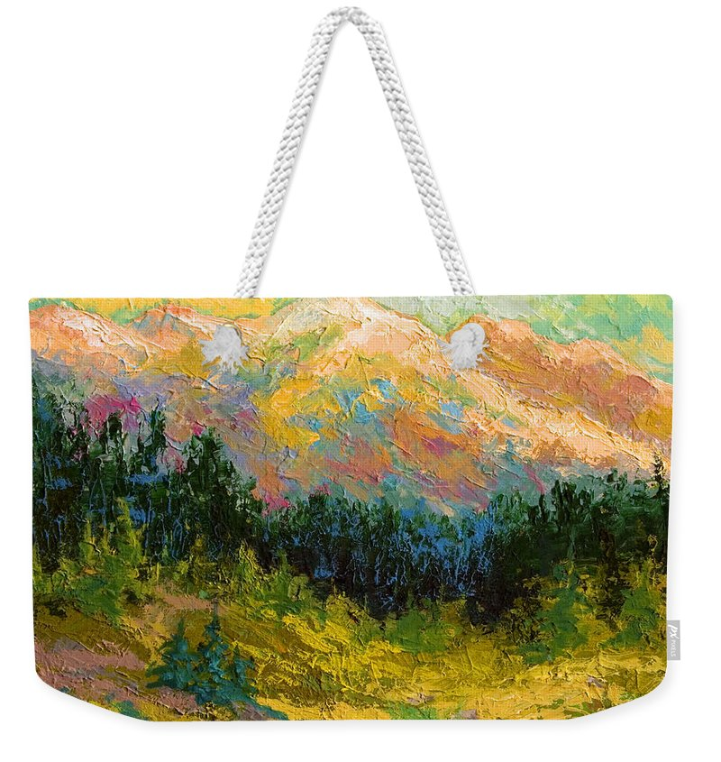 Alaska Weekender Tote Bag featuring the painting Summer High Country by Marion Rose