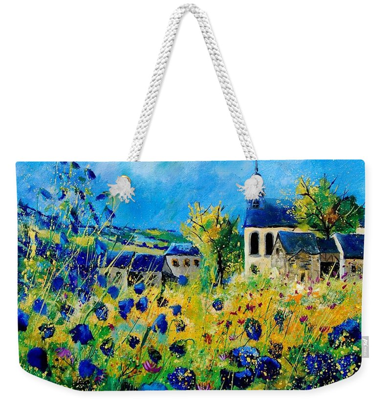 Poppies Weekender Tote Bag featuring the painting Summer In Foy Notre Dame by Pol Ledent