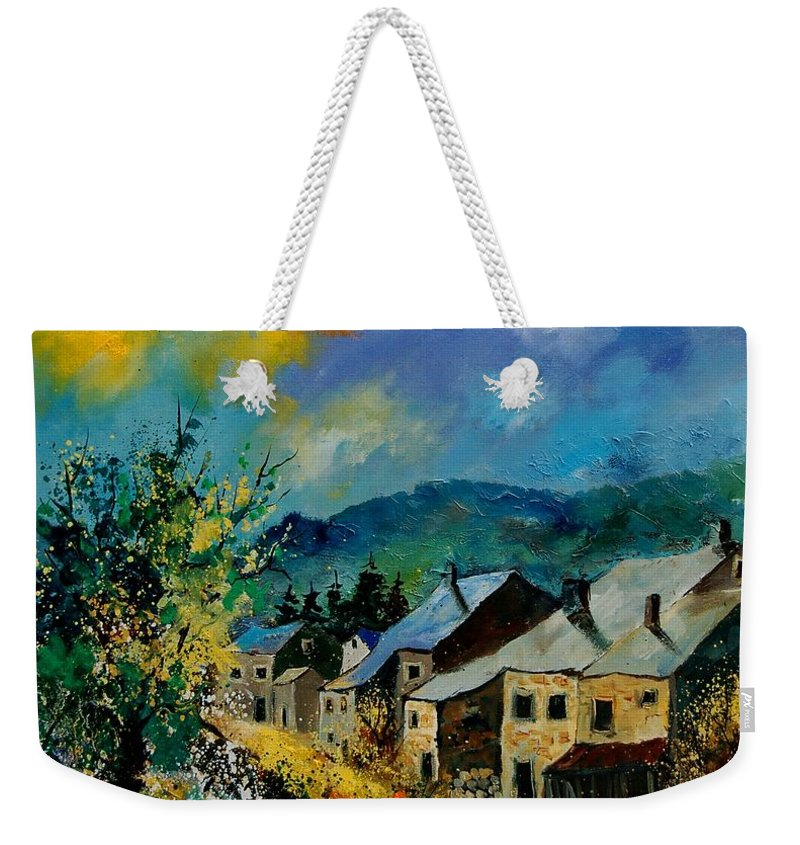 Poppies Weekender Tote Bag featuring the painting Summer In Mogimont by Pol Ledent