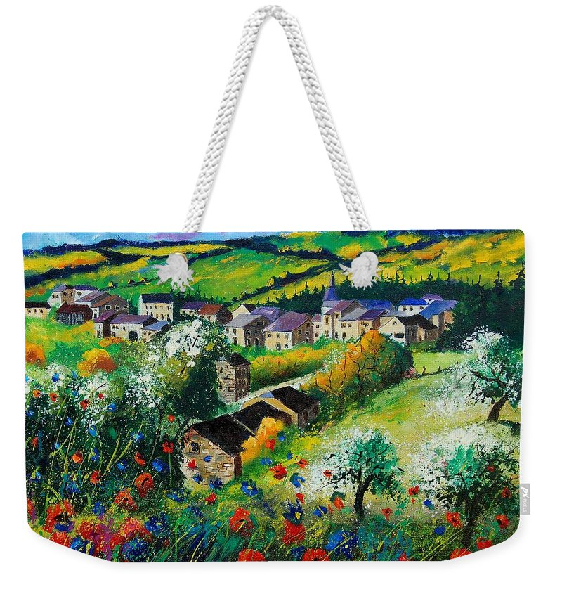 Poppies Weekender Tote Bag featuring the painting Summer In Rochehaut by Pol Ledent