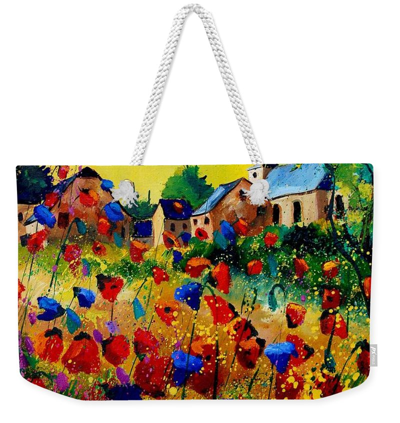 Poppy Weekender Tote Bag featuring the painting Summer In Sosoye by Pol Ledent
