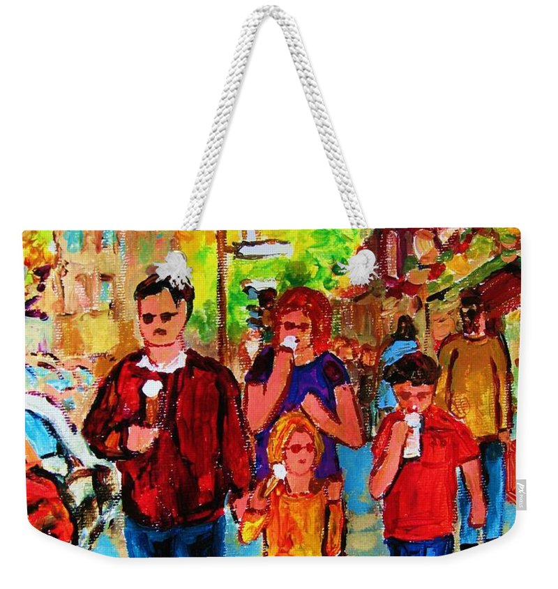 Montreal Streetscenes Weekender Tote Bag featuring the painting Summer In The City by Carole Spandau