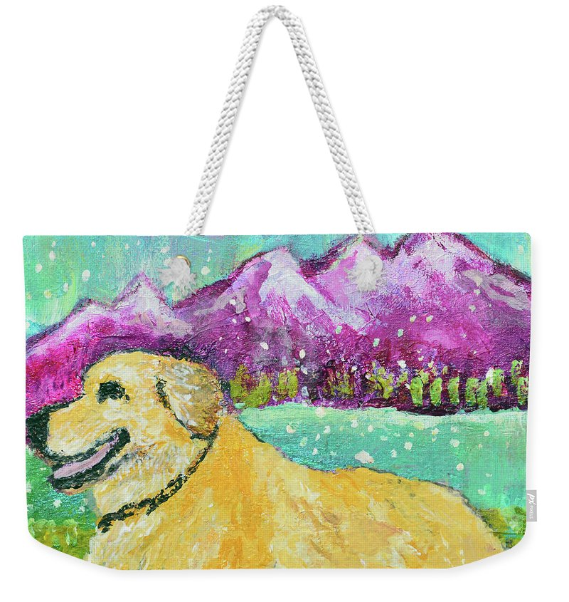 Pet Portraits Weekender Tote Bag featuring the painting Summer In The Mountains With Summer Snow by Ashleigh Dyan Bayer