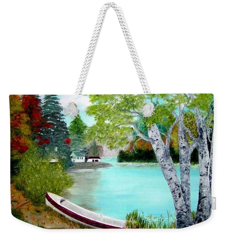 Beautiful Bracebridge Ontario Oil Painting Weekender Tote Bag featuring the painting Summer In The Muskoka's by Peggy Holcroft