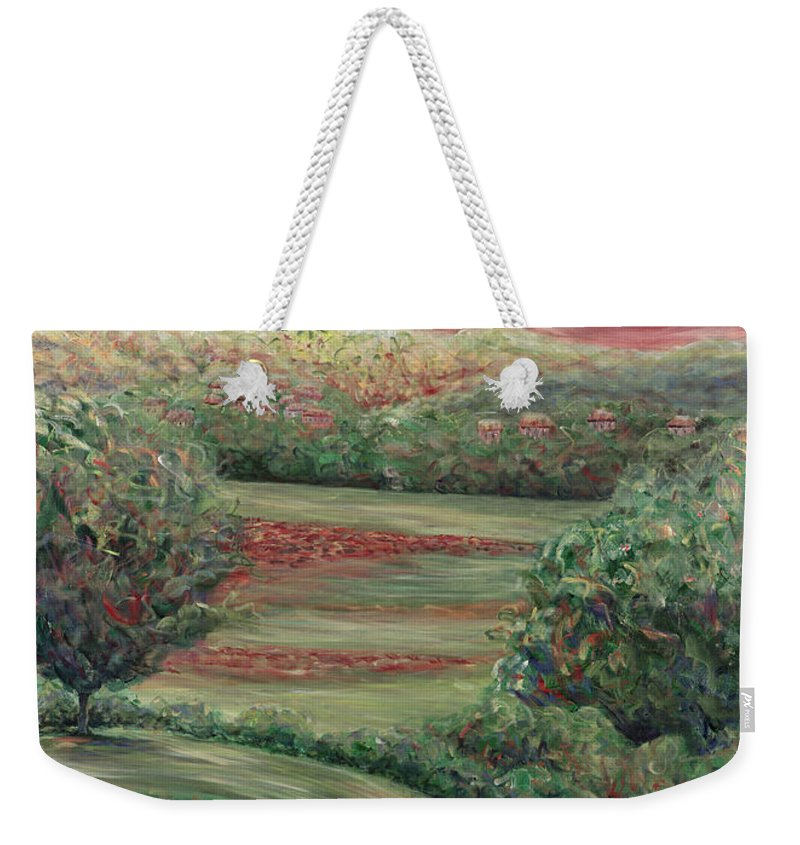 Landscape Weekender Tote Bag featuring the painting Summer In Tuscany by Nadine Rippelmeyer