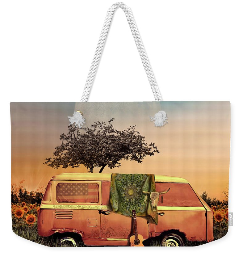 Landscape Weekender Tote Bag featuring the digital art Sunflowers Summer Landscape by Bekim M