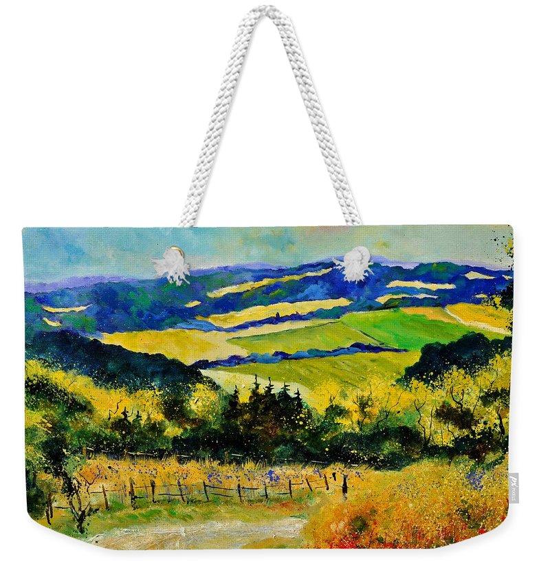 Landscape Weekender Tote Bag featuring the painting Summer Landscape by Pol Ledent