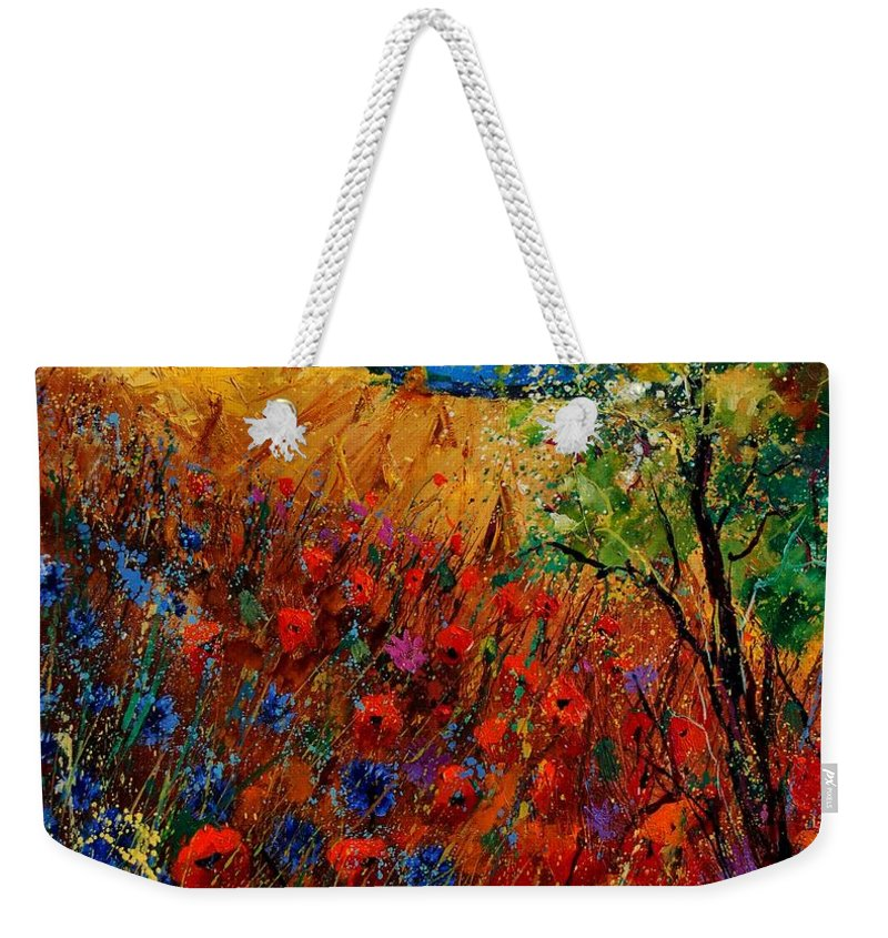 Flowers Weekender Tote Bag featuring the painting Summer Landscape With Poppies by Pol Ledent