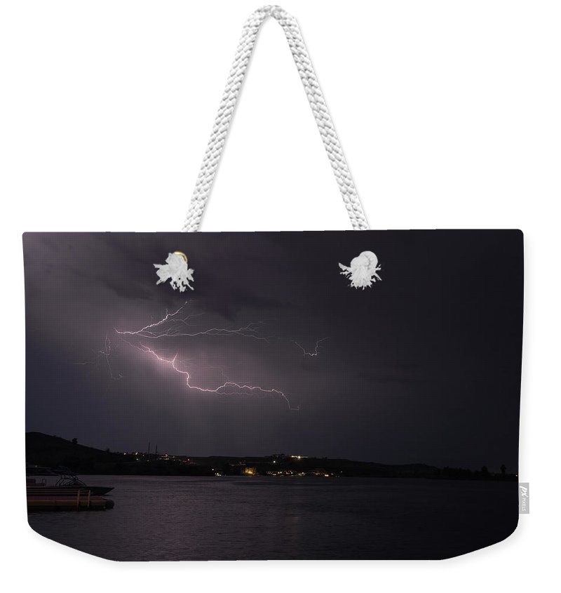 Water Weekender Tote Bag featuring the photograph Summer Lightning by David Barile