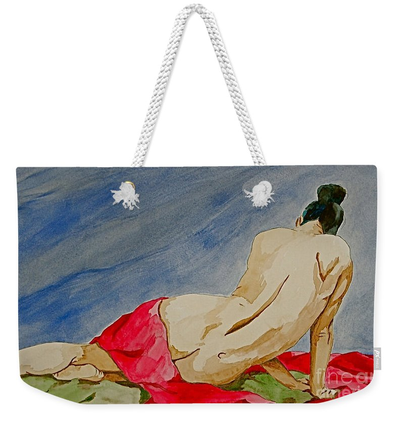 Nudes Red Cloth Weekender Tote Bag featuring the painting Summer Morning 2 by Herschel Fall
