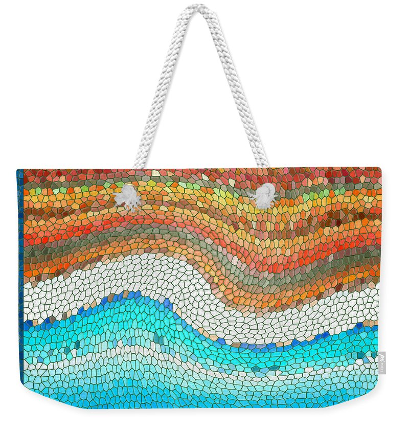 Colorful Weekender Tote Bag featuring the digital art Summer Mosaic by Melissa A Benson