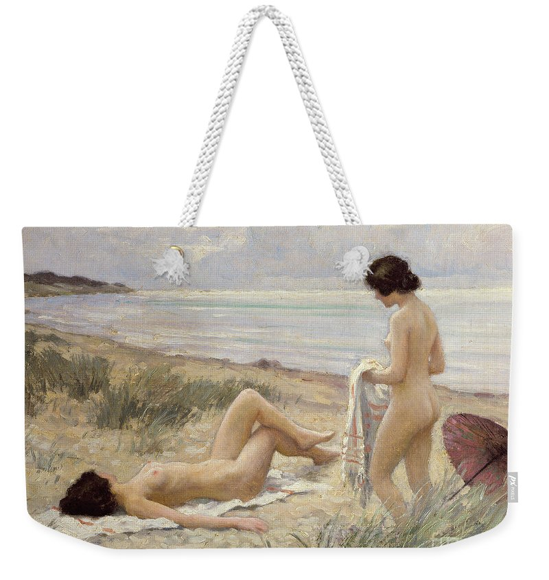 Summer On The Beach (oil On Canvas) By Paul Fischer. Sunbathing; Nude; Naked; Parasol; Beach; Coast; Female; Towel; Lesbian Weekender Tote Bag featuring the painting Summer On The Beach by Paul Fischer