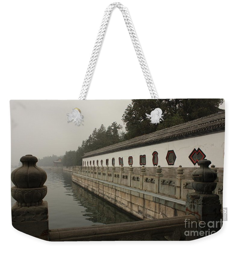 Summer Palace Weekender Tote Bag featuring the photograph Summer Palace Pond With Ornate Balustrades by Carol Groenen