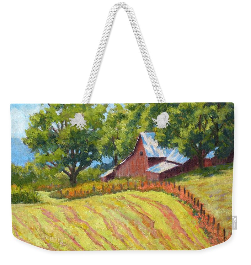 Landscape Weekender Tote Bag featuring the painting Summer Patterns by Keith Burgess