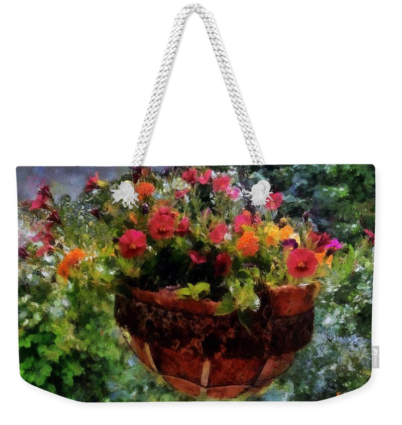 Flowers Weekender Tote Bag featuring the painting Summer Picture Window by RC DeWinter