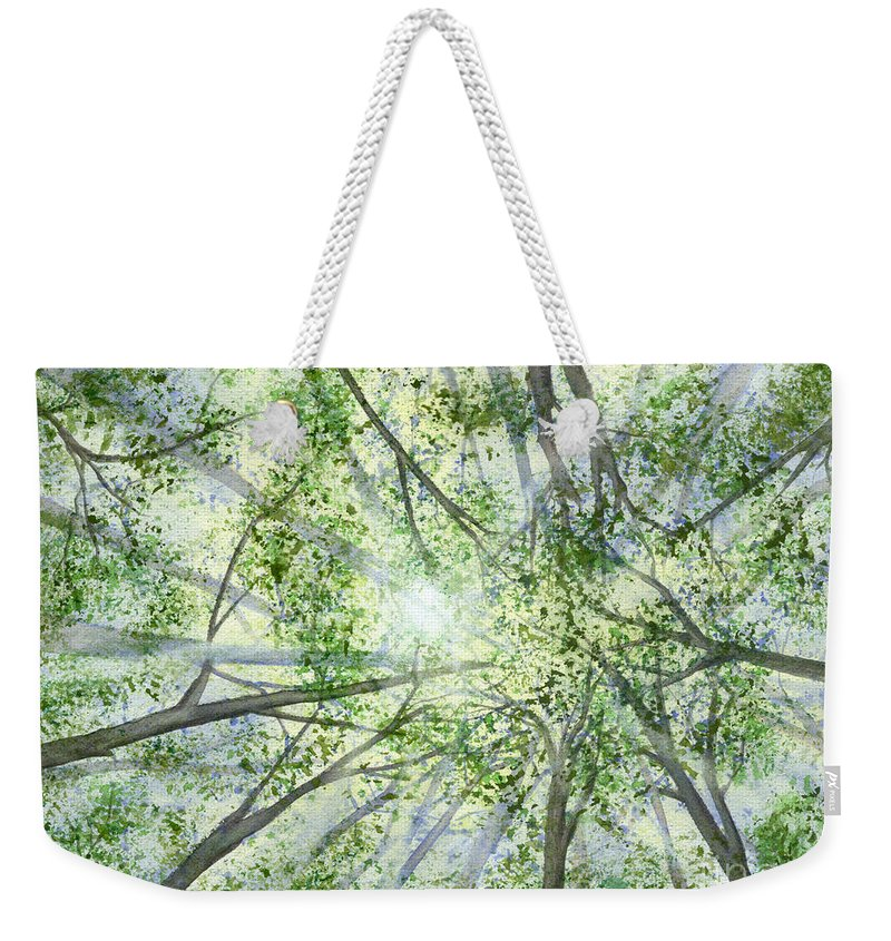 Trees Weekender Tote Bag featuring the painting Summer Rays by Lynn Quinn