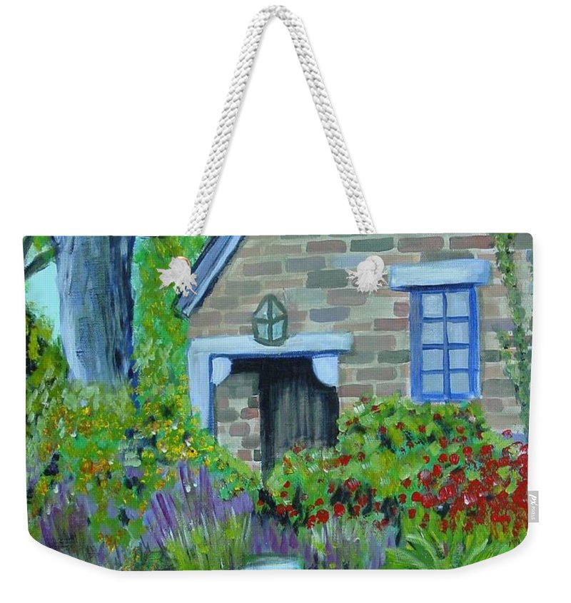 Cottage Weekender Tote Bag featuring the painting Summer Retreat by Laurie Morgan