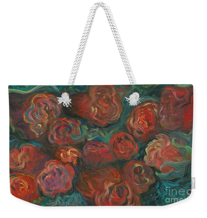 Red Weekender Tote Bag featuring the painting Summer Roses by Nadine Rippelmeyer