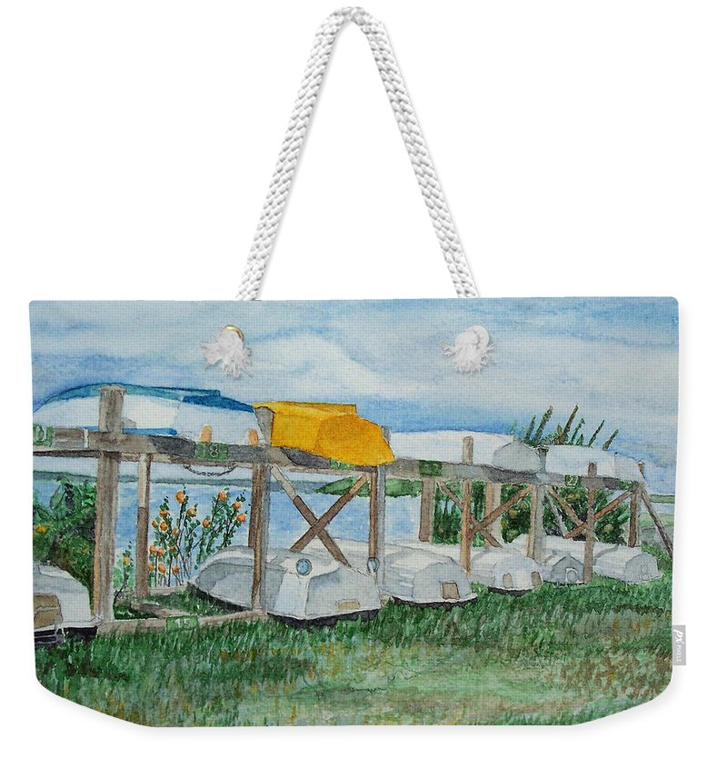 Rowboats Weekender Tote Bag featuring the painting Summer Row Boats by Dominic White