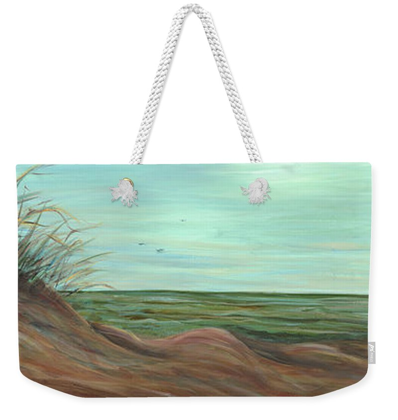 Summer Weekender Tote Bag featuring the painting Summer Sand Dunes by Nadine Rippelmeyer