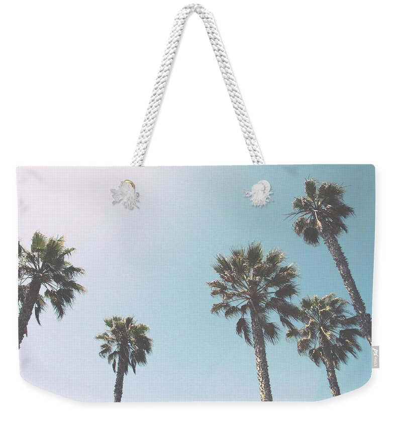 Palm Trees Weekender Tote Bag featuring the photograph Summer Sky- By Linda Woods by Linda Woods