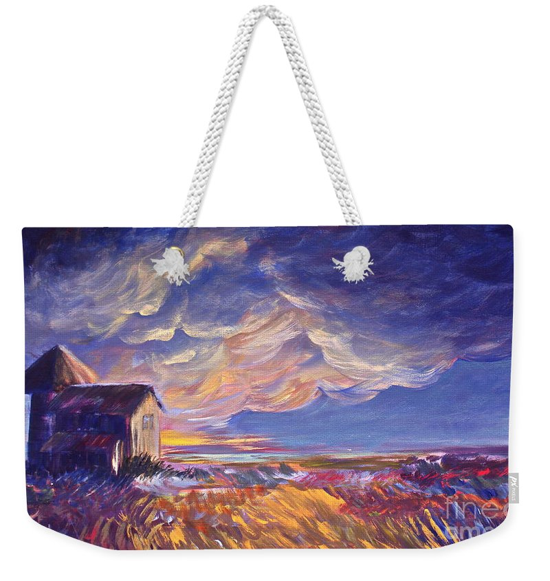 Summer Prairie Storm Weekender Tote Bag featuring the painting Summer Storm by Joanne Smoley