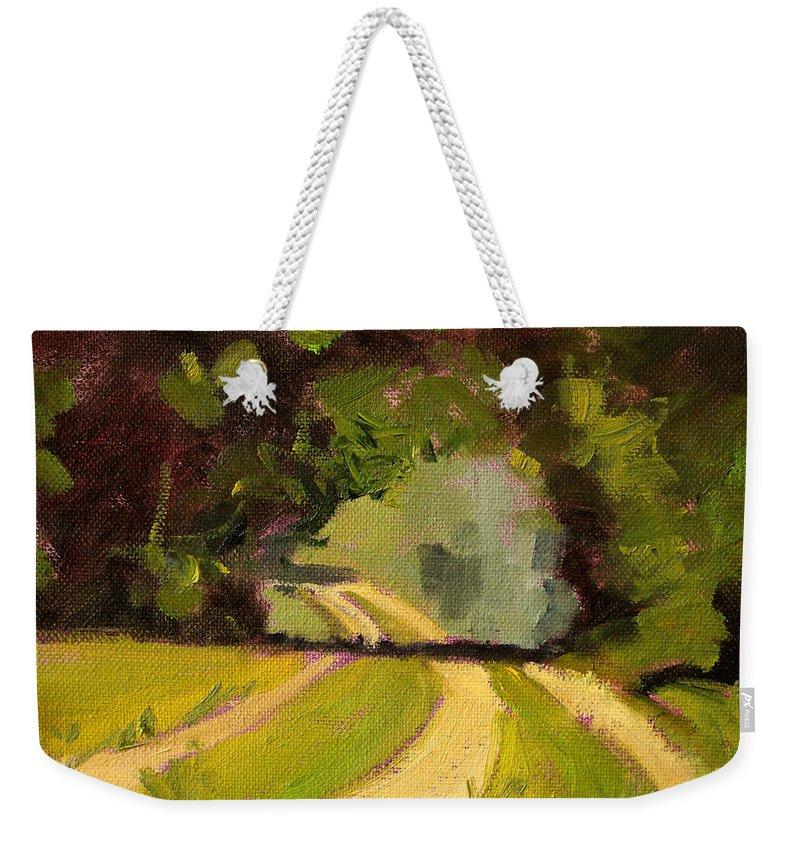 Summer Landscape Painting Weekender Tote Bag featuring the painting Summer Stroll by Nancy Merkle