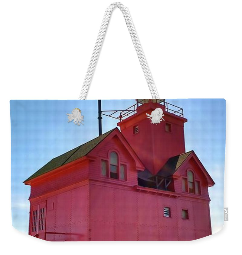 Lighthouse Weekender Tote Bag featuring the photograph Summer Sun And Big Red by Michelle Calkins