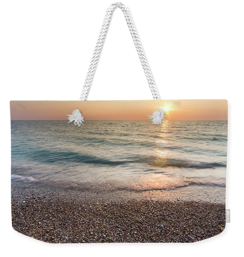 Pierport Weekender Tote Bag featuring the photograph Summer Sunset At Pierport by Twenty Two North Photography