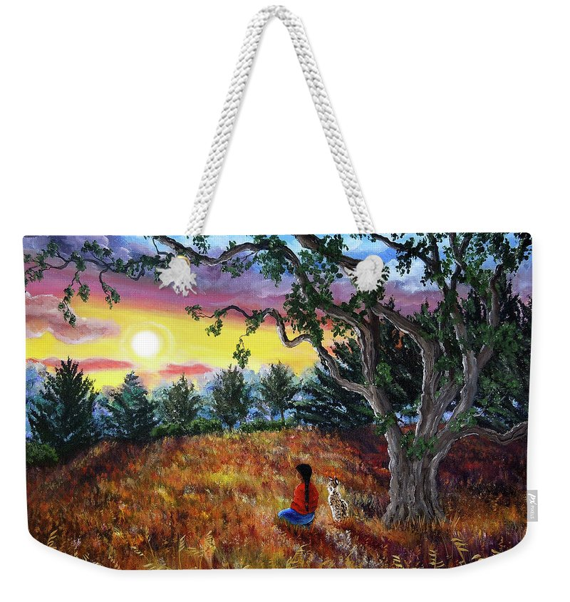 Landscape Weekender Tote Bag featuring the painting Summer Sunset Meditation by Laura Iverson
