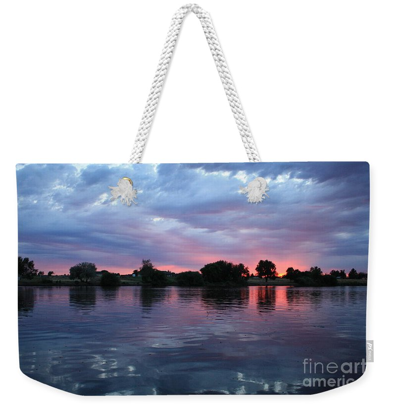 Sunset Weekender Tote Bag featuring the photograph Summer Sunset On Yakima River 4 by Carol Groenen
