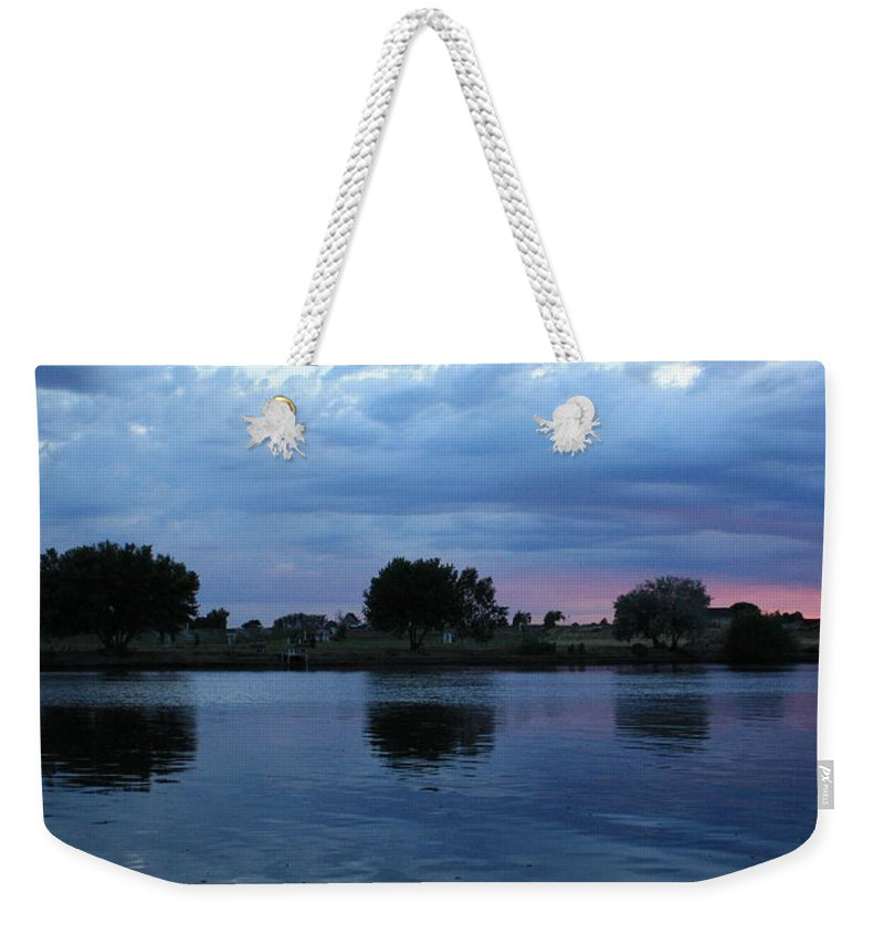 Blue Weekender Tote Bag featuring the photograph Summer Sunset On Yakima River 5 by Carol Groenen