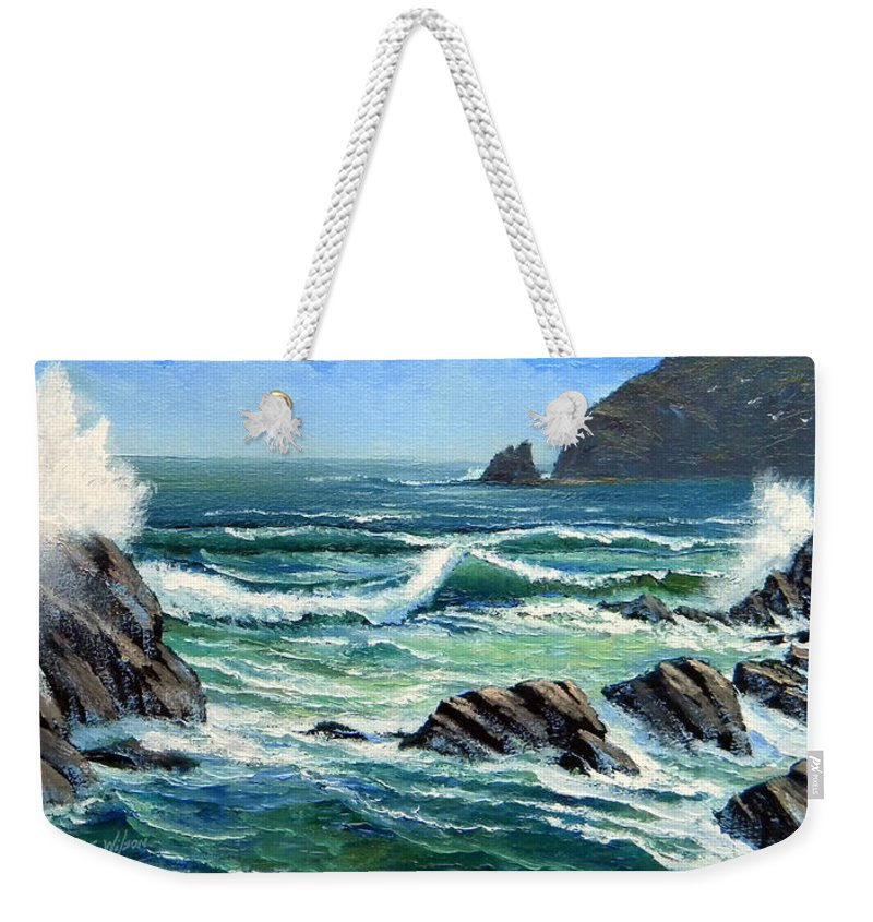 Seascape Weekender Tote Bag featuring the painting Summer Surf by Frank Wilson