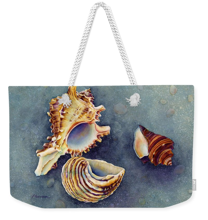 Seashell Weekender Tote Bag featuring the painting Summer Whispers by Hailey E Herrera