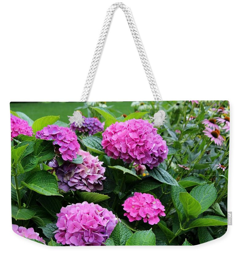 Hydrangea Weekender Tote Bag featuring the photograph Summer's Breath by Michiale Schneider