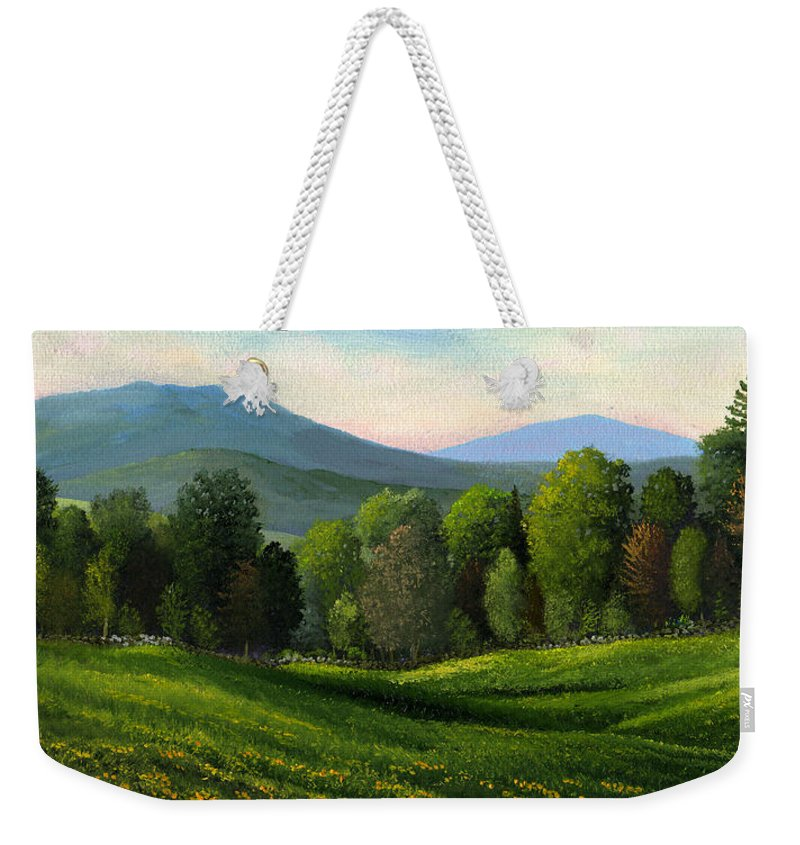 Landscape Weekender Tote Bag featuring the painting Summers Ending by Frank Wilson