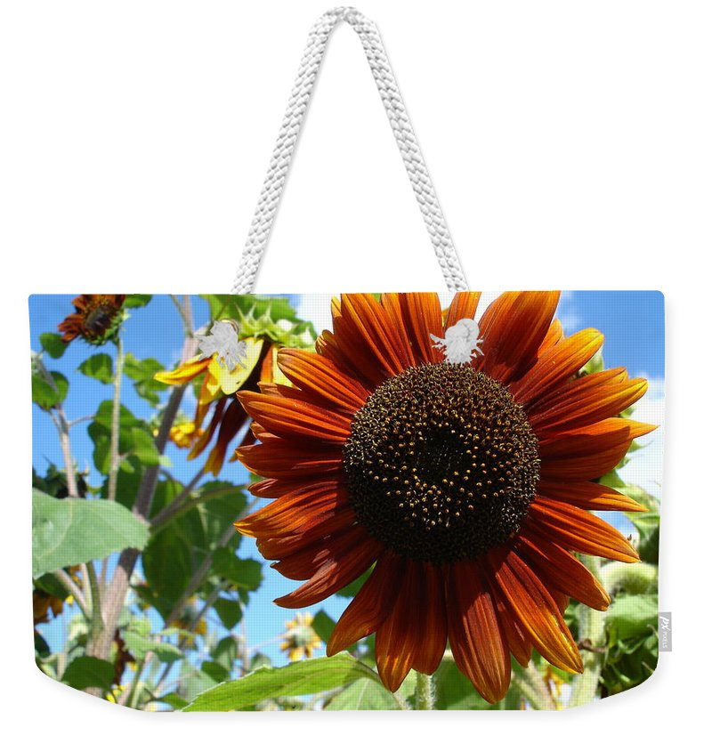 Sunflower Weekender Tote Bag featuring the photograph Summers Here by Susan Baker