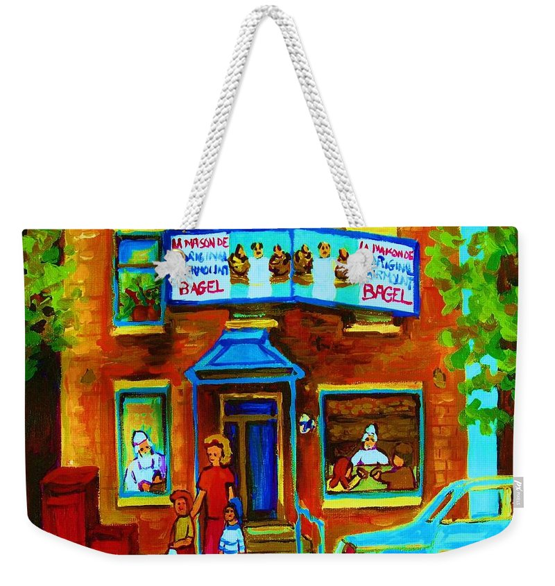 Mom And Tots Weekender Tote Bag featuring the painting Summers With Mom At Fairmount by Carole Spandau
